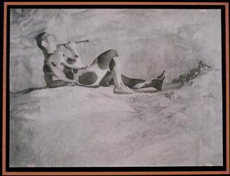 Nijinsky visage de profil, un filtre dans la bouche,couché jambe droite pliée, 1914 (prise de vue 1912), Adolphe de Meyer