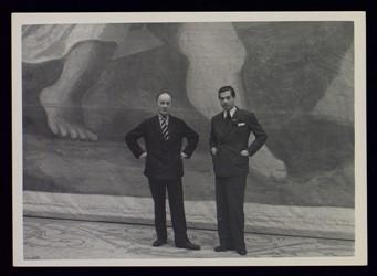 """""""Oncle Vasia"""", valet de Serge Diaghilev (à gauche) et Serge Lifar, Emile Marcovitch"""