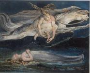 La Pitié, vers 1795 estampe en couleurs réhaussée à l'aquarelle de William Blake