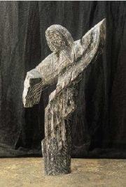 Nicolas Alquin Persée, 2008, Chêne chaulé, 214 x 121 x 68 cm.