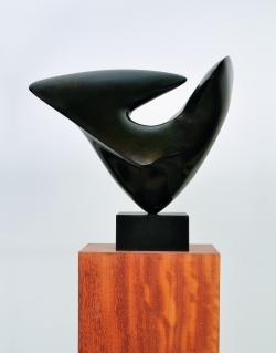 Sculpture d'Antoine Poncet,  Jamais à jamais , bronze patiné I\/VIII, 1987, 42x62x51 cm, fonte TEP, Athènes)