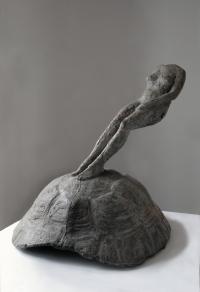 Sculpture d'Agnès Bracquemenond, Figure sans poids grande, 2008, bronze, fonte Clementi, Meudon, 78x59x62 cm