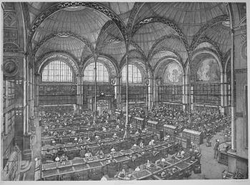 La salle Labrouste de la Bibliothèque Nationale , gravure d'Erik Desmazières 2001, eau-forte aquatinte et roulette