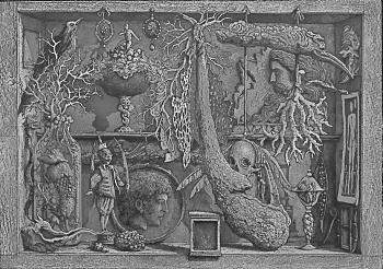 Scarabatto, gravure d'Erik Desmazières, in  Musaeum Clausum  de Sir Thomas Brown avec quatre gravures d'Erik Desmazières