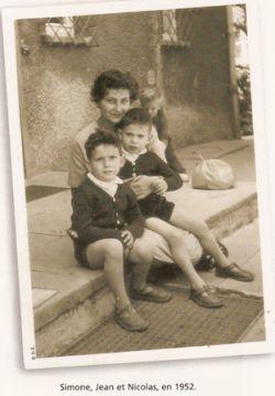 Simone, Jean et Nicolas, en 1952