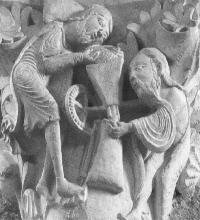 Détail du chapiteau de la Basilique Sainte-Madelaine à Vézelay