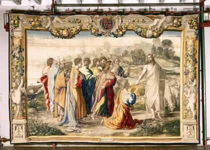 Manufacture de Mortlake Vers 1630 Tenture Les Actes des Apôtres, d'après Raphaël La remise des clefs à Saint-Pierre