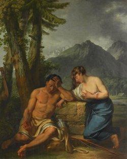 Le Barbier Jean Jacques François, Un canadien et sa femme pleurant sur le tombeau de leur enfant, 1781