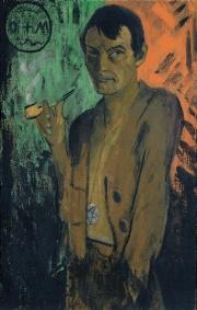 Otto Mueller, Autoportrait avec pentagramme, 1922 huile sur toile à sac 120 x 75,5 cm Von der Heydt-Museum Wuppertal