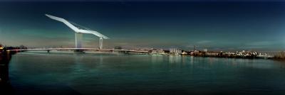 Projet architectural d'Aymeric Zublena, Pont mobile Bacalan-Bastide à Bordeaux, vue aval  2009