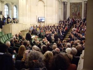 Jean-Christophe Rufin de l'Académie française, lors desa réception sous la Coupole de l'Institut de France, 12 novembre 2009
