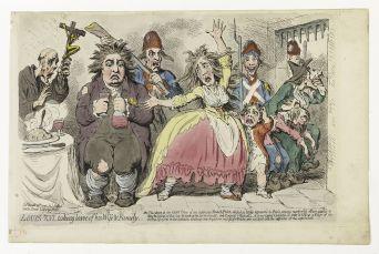 Louis XVI prenant congé de sa femme et de sa famille, James Gillray Eau-forte coloriée, 20 mars 1793 Musée Carnavalet © Musée Carnavalet \/ Roger-Viollet