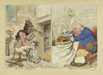 Liberté française. Esclavage britannique James Gillray Eau-forte coloriée, 21 déc. 1792 Musée Carnavalet © Musée Carnavalet \/ Roger-Viollet
