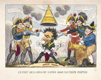 Le chef de la grande nation  dans une triste position d'après George Cruikshank Eau-forte coloriée, 1813-1815 Musée Carnavalet © Musée Carnavalet \/ Roger-Viollet