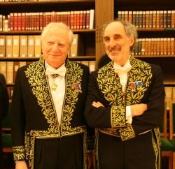 Aymeric Zublena et Paul Andreu, membres de la section d'architecture de l'Académie des beaux-arts, le 2 décembre 2009 © Canal Académie