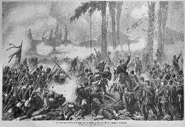 Le corps de garde en prise à Saint-Privat-la-Montagne lors de la bataille de Gravelotte. Gravure d'après une œuvre originale de Christian Gell.