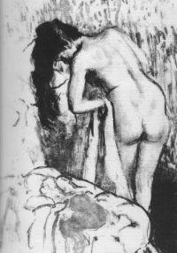 Femme nue debout à la toilette par Degas (1891)