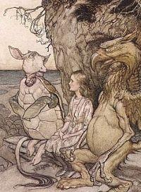 """Alice entre le griffon et """"the mock turtle"""", détail d'une illustration d'Arthur Rackham pour Alice's Adventures in Wonderland de Lewis Caroll, 1907."""