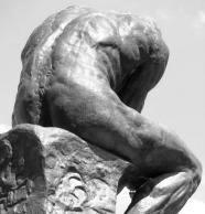 Le penseur d'Auguste Rodin, statue vue de dos