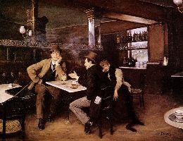 Au bistro, huile sur toile de Jean Béraud (1849–1935)