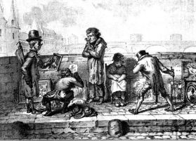Brocanteurs sur un pont de Paris, gravure de Jean Henry Marlet, tirée de Charles Simond, La vie parisienne à travers le XIXe siècle, Paris, E. Plon, 1900