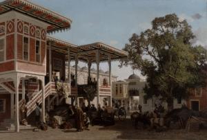 Fabius Brest (1823-1900), Caravan sérail à Trébizonde, huile sur toile, 113x167 cm