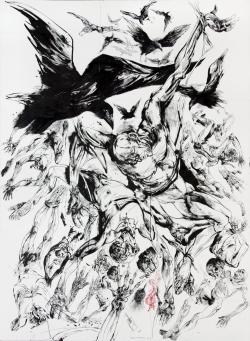 """Vladimir Velickovic, """"Corbeaux"""", encre sur papier, 225 x 165 cm, 2009"""