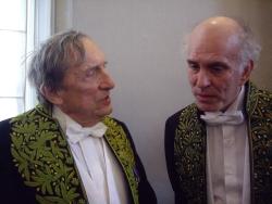 Gérard Lanvin et Pierre-Edouard, membres de l'Académie des beaux-arts, lors de l'Installation sous la Coupole de Pierre-Edouard, le 10 mars 2010