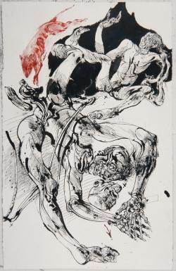 """Vladimir Velickovic, """"Corps"""", encre sur papier, 103 x 66 cm, 2006"""