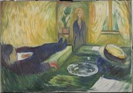 Edvard Munch,  Meurtre (mort de Marat)  , 1906 Huile sur toile, 69,5x100 cm Oslo, The Munch museet