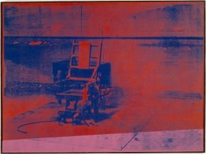 Andy Warhol Big electric chair , 1967-1968 Encre sérigraphique et peinture acrylique sur toile, 137,2x185,3 cm Paris, musée national d'art moderne