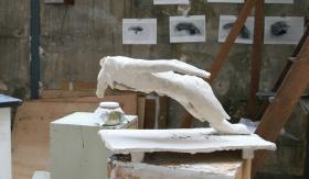 Pierre-Edouard, Eve (première Eve réalisée par le sculpteur), atelier de l'artiste, 13 mars 2010