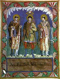 Charlemagne entre les papes Gélase Ier et Grégoire Ier d'après le sacramentaire de Charles le Chauve (vers 870)