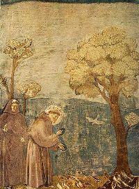 Saint François d'Assise prêchant aux oiseaux (d'après les Fioretti de Giotto)