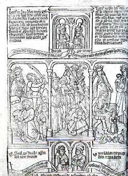 «BD au Vatican»:  Biblia pauperum. Xylographie hollandaise du milieu du XV<sup>e<\/sup> siècle.