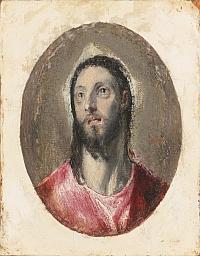 Domenikos Theotokopoulos, dit Le Greco (1541-1614) Tête du Christ, vers 1600 Huile sur papier collé sur panneau de bois, 10,2 x 8,6 cm Collection Pérez Simón, Mexico