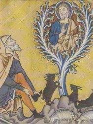 Détail du Buisson ardent \/ Remise des tables de la Loi. Psautier d'Ingeburge de Danemark. Début du XIII<sup>e<\/sup> siècle. Enluminure sur parchemin. Chantilly. Musée de Condé