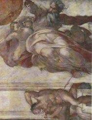 La Création des astres par Michel-Ange. Détail de la voûte de la chapelle Sixtine. Vatican.