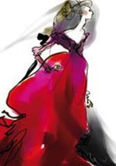 Maquette de Christian Lacroix pour le costume de Renée Fleming dans la Traviata de Verdi - Métropolitan Opéra NYC 2008