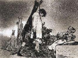 Ici non plus. Désastres de la guerre, vers 1812 de Goya.