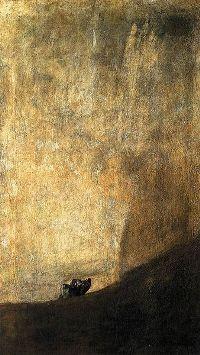 Le chien (1820-1823)appartient à la série des peintures noires (14 fresques) de Goya.
