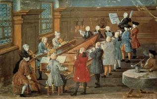 Instrumentistes et chanteurs répétant une cantate