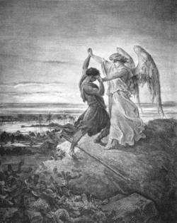 Combat de Jacob avec l'ange, de Gustave Doré