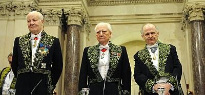 Arnaud d'hauterives, Roger Taillibert, Laurent Petitgirad (de gauche à droite), 17 novembre 2010, Académie des beaux-arts