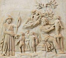 Création de l'homme par Prométhée (Athéna se tient à gauche), bas-relief en marbre, Italie, IIIe siècle, musée du Louvre