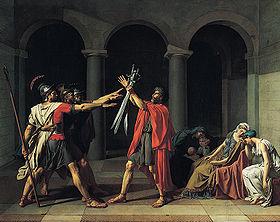 Jacques-Louis David, Le Serment des Horaces, 1784, Paris, musée du Louvre, département des Peintures, © RMN\/Gérard Blot\/Christian Jean