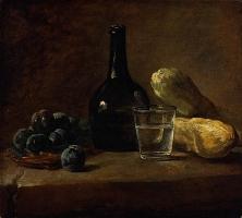 Panier de prunes, bouteille à demi pleine, verre à demi plein d'eau et deux concombres, New York, The Frick Collection, Inv. 1945.1.152