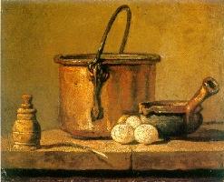 Chaudron de cuivre rouge étamé, poivrière, poireau, trois œufs et poêlon posés sur une table, Paris, Musée du Louvre, Legs Dr. Louis La Caze, 1869, Inv. MI 1045