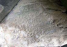 Île Kangaroo, baie de Penneshaw: inscription gravée, datant de 1803, réalisée par un des marins du navire Le Géographe et rendant hommage à Nicolas Baudin