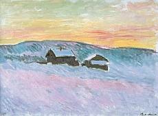 Claude Monet, Paysage de Norvège. Les maisons bleues, 1895 – Huile sur toile, 61 x 84 cm – Musée Marmottan Monet, Paris – Inv. 5169